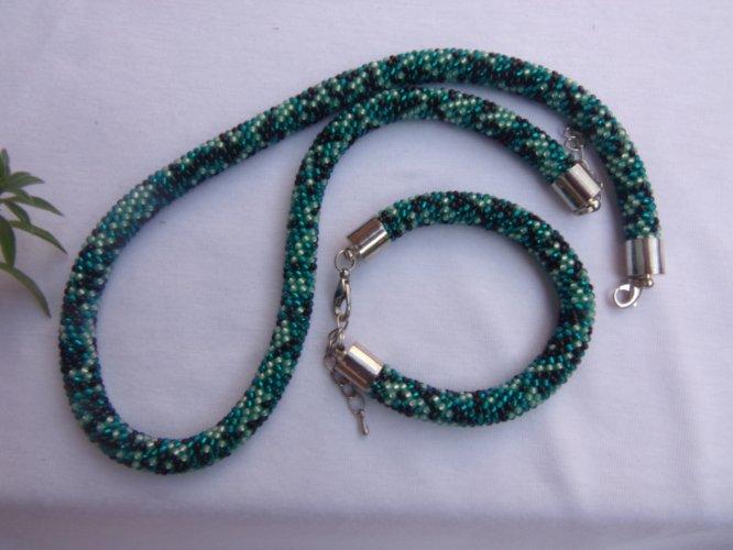 dddba43309c1a9 Komplet naszyjnik i bransoletka, zielony